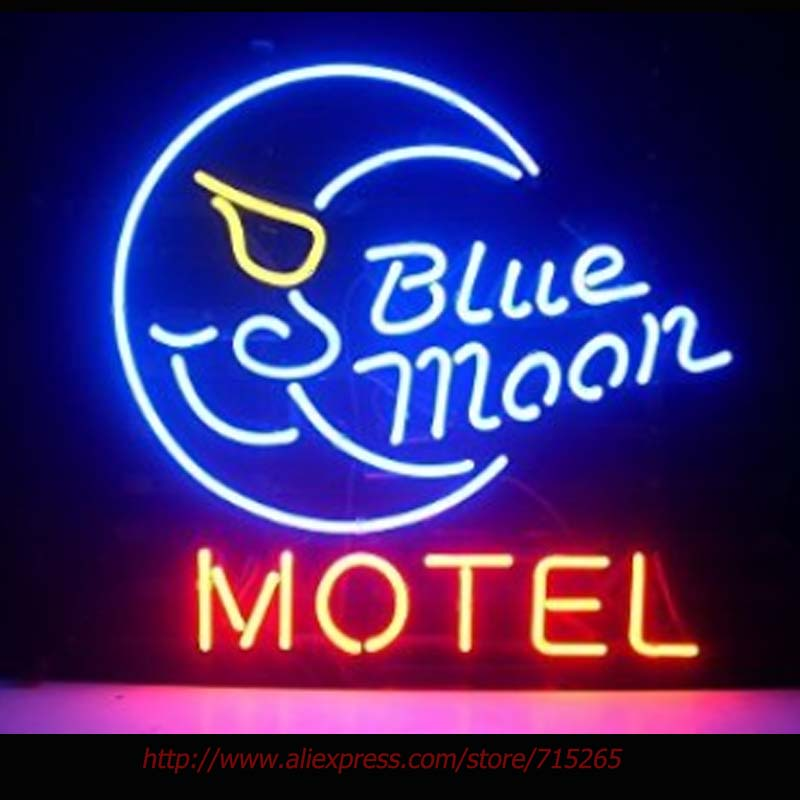 Blue Moon Motel Neon Sign Neon Bulbs Led Signs Real Glass Tube Handcrafted Restaurant Decorate Beer Advertise 17x14(China (Mainland))