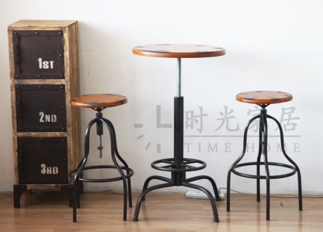 American Village Industrial Wind Retro Old Metal Bar Stool Chair Lift Coffee Tables And Chairs