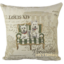Retro Vintage West Highland Terrier Dog Cotton Linen Pillow Case Cushion Cover