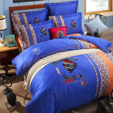 Gilardino slave tribe Boho Thicken blue 100% Cotton Bedding set Duvet Cover Bed Sheet Pillow Sham Bed set King Queen Size 5 PCS(China (Mainland))