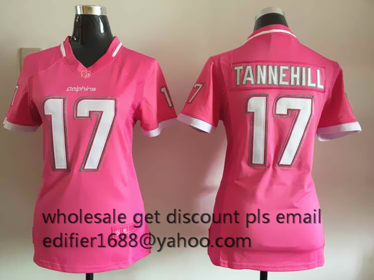 100% stitched women pink love Miami Dolphins ladies 17 Ryan Tannehill 11 DeVante Parker 13 Dan Marino Embroidery Logos(China (Mainland))
