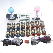 Free Shipping ! New Zero Delay USB Encoder To PC LED 5 Pin 4/8 Way Joysticks & 16pcs Gold LED Push Buttons For Windows PC Games(China (Mainland))