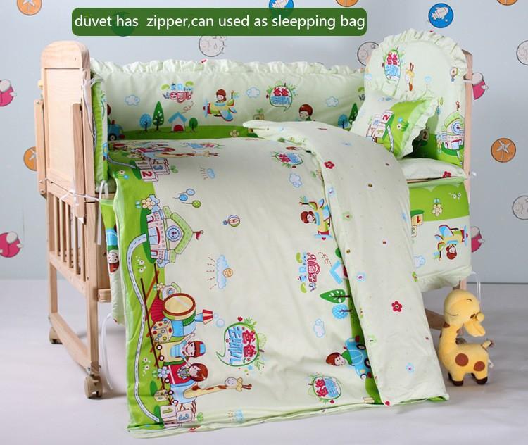 Фотография Promotion! 10PCS baby crib bedding cotton baby crib bedclothes set (bumper+matress+pillow+duvet)