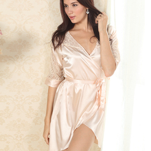 Sexy Women Solid Color Night Robe Dress Nightgown Imitated Silk Free size Sleepwear(China (Mainland))