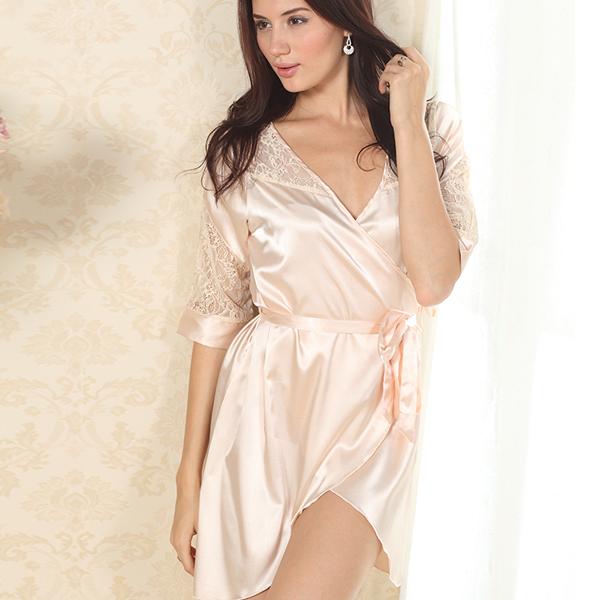 Sexy Women Solid Color Night Robe Dress Nightgown Imitated Silk Free size Sleepwear