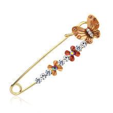 Ungu Di Bunga Rhinestone Bros untuk Wanita Bros Pin Perhiasan Wanita Aksesoris 1.06(China)