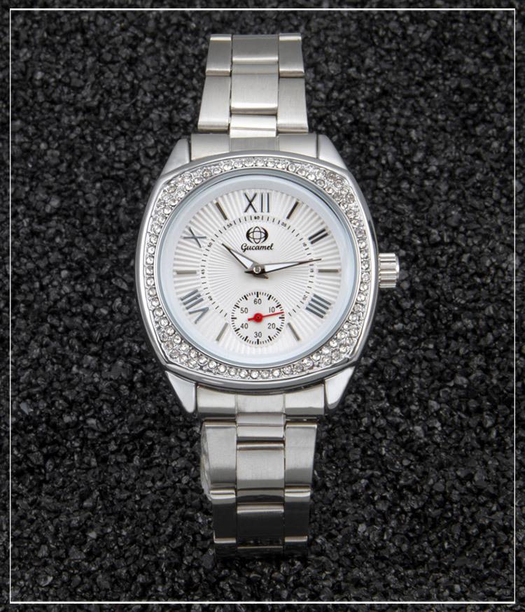 Elegant Women Watches Crystal Rhinestone Stainless Steel Leather Band Casual Fashion Quartz Analog Lady Wrist Watch with Box