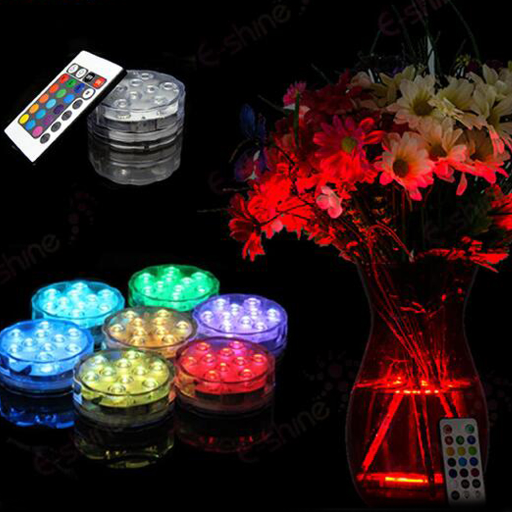 10 smd RGB MultiColor Waterproof Wedding Party Vase submersible Floral led Base Light+ 24key Remote controller 10pcs/lot(China (Mainland))