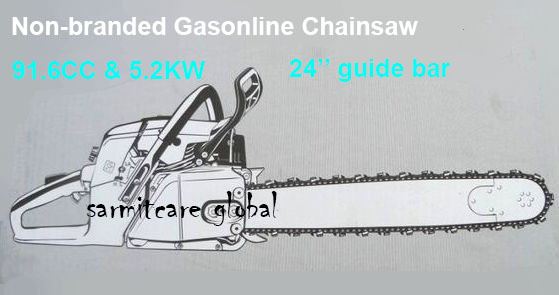Non-branded Robust Power 91.6CC 5.2KW 2 Stroke Chain Saw 24'' Guide Bar Chain Saw Garden Tools Gas Chainsaw Fast Shipping(Hong Kong)