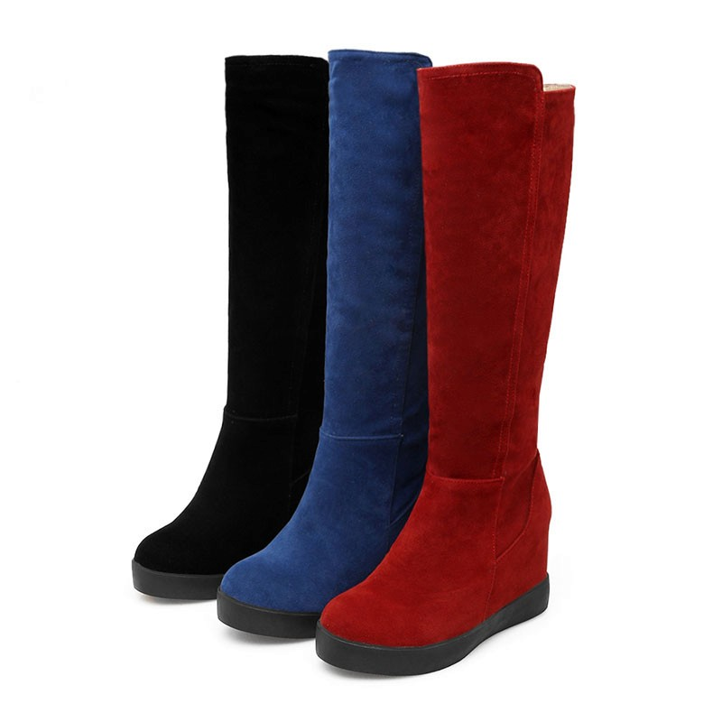 WETKISS Size 34-43 Fashion Add Thick Fur Russia Keep Warm Snow Boots Hidden Wedges Winter Shoes Woman Flat Platform Knee Boots