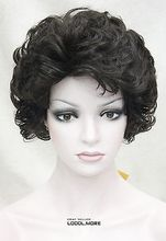 Wholesale& heat resistant LY free shipping>>>Dark Brown Short Curly Women Ladies Fluffy Daily Synthetic Wig