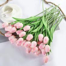 Luyue 31 قطعة توليب الزهور الاصطناعية ديكور زفاف صناعي العروس باقة ريال اللمس ورد صناعي المنازل حديقة الديكور(China)