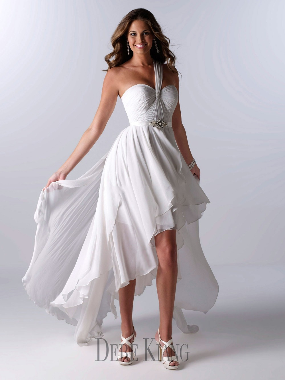 One shoulder short wedding dress cocktail dresses 2016 for Cheap chiffon wedding dresses
