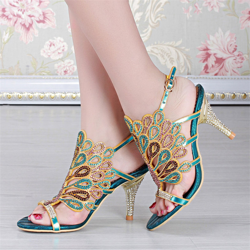 Large size 35 - 44 Summer style women high heel sandals Genuine Leather Rhinestone comfort woman Wedding sandal 2015(China (Mainland))