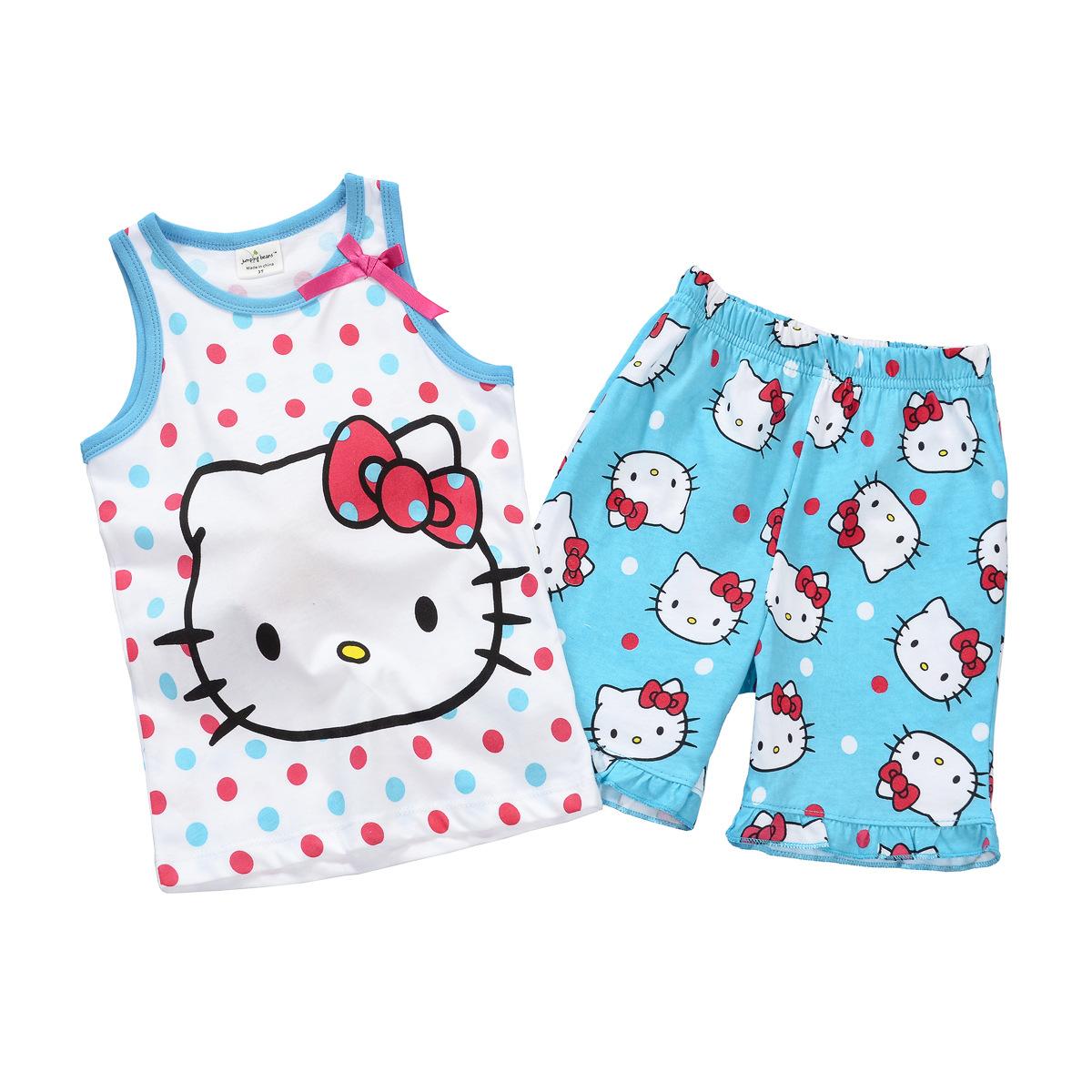 New 2014 Baby & Kids Hello Kitty Clothing Set Girl Suit 2Pcs sleeveless T-Shirt+Pants Girls Summer Sets Clearance(China (Mainland))