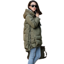 2016 New Winter Jacket Plus Size Solid Hooded Fashion Military Coat Long Down Jacket For Women Winter Coat Parka Casaco Parka