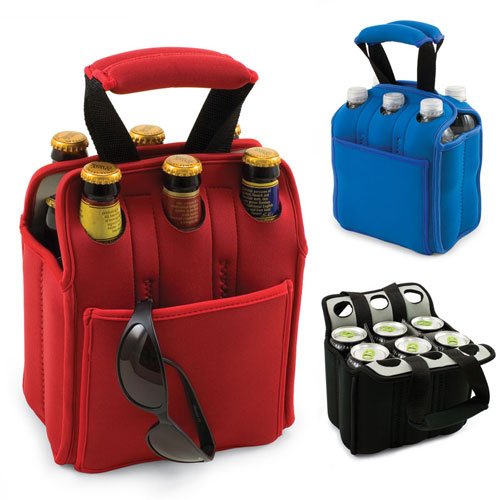 neoprene water bottle holder insulated beer carrier for six bottles six pack wine tote in. Black Bedroom Furniture Sets. Home Design Ideas