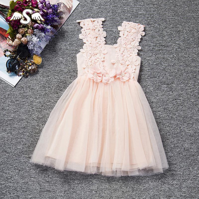 2016 Summer Girls Mini Dress Lace Flower Baby Girl Clothes Princess Tutu Children's Dresses Vestidos Infantis Girls Tutu Dress(China (Mainland))
