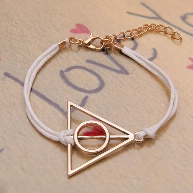 Женщины мода позолоченные harriy поттер треугольник два сердца любовь подвески пу ...