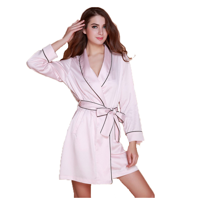 Мода женская 2016 новое прибытие шелковые одеяния халаты pijamas с поясом высокое ...
