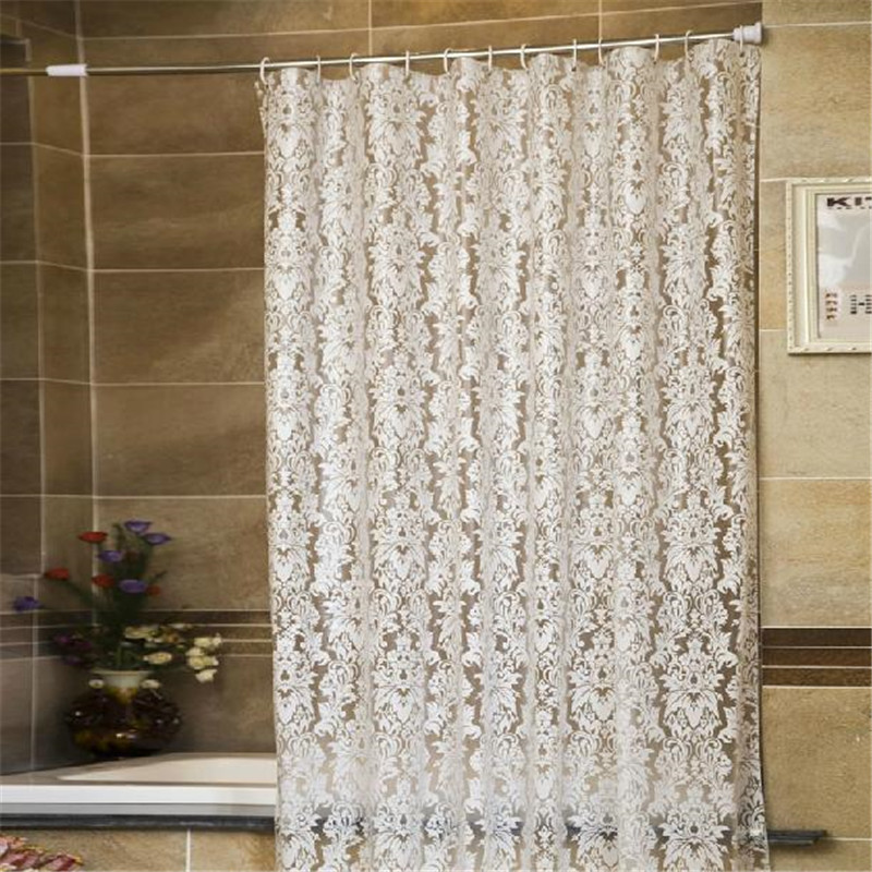 Waterproof peva shower curtain semitransparent with hooks for Bathroom sets on sale