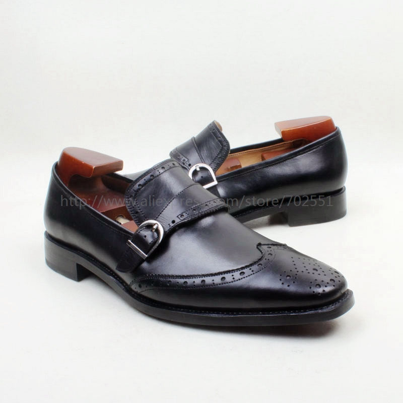 Cie Square Toe 100% Genuine Leather Upper Insole Outsole Custom Handmade Black with Buckle Loafer Mens Shoe No.loafer 156<br><br>Aliexpress