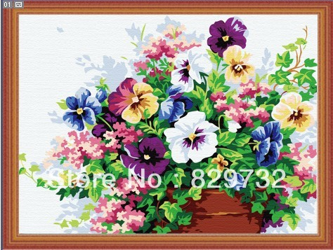 JIUJIU DIY digital oil painting arcylic paint 40X50cm Colorful flower unique gift number - Store store