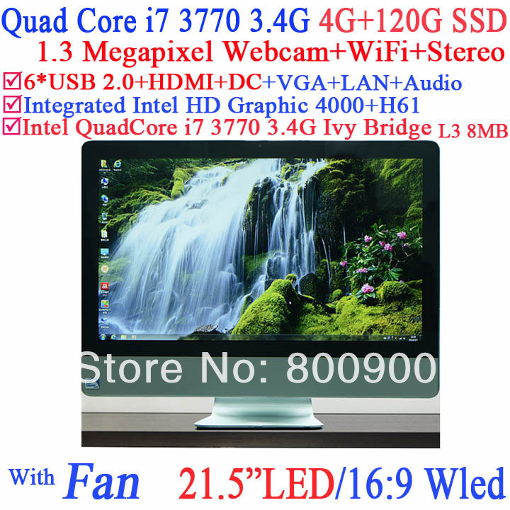 Factory 21.5 inch all in one pc WLED screen Intel H61 Quad core i7 3770 3.4Ghz 8 Threads Intel HD 4000 Graphic 4G RAM 120G SSD<br><br>Aliexpress