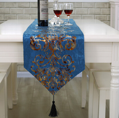 Free Shipping 1pc New Luxury Modern European Table Flag Tablecloths Table Runner Black/Blue(China (Mainland))