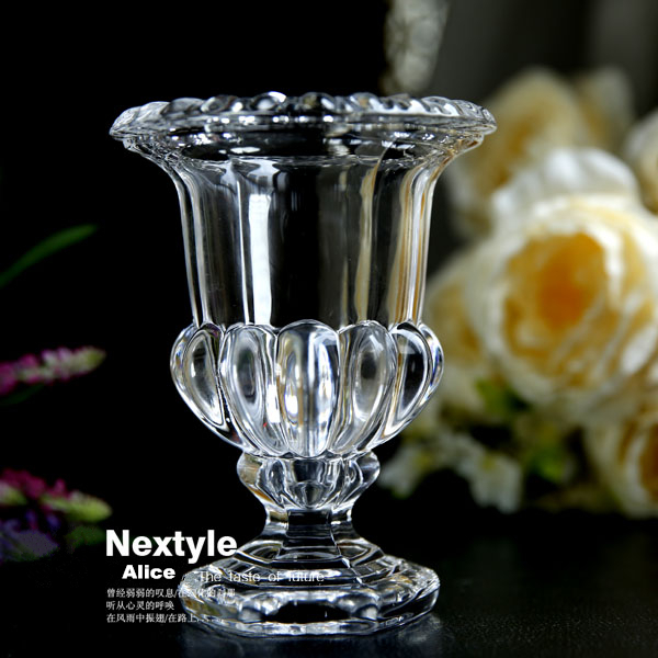 Bohemia engraved designs style crystal glass vase decorative flower pot planters thick transparent hydroponic flower vase(China (Mainland))