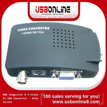 High quality Cheap CCTV TV BNC/S-Video Compositive To VGA PC Converter adapter Free shipping