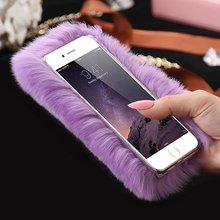 Apple iphone4 6 6S Plus 7 7plus 5 5s se Fashion Women Luxury Faux Rabbit Fur PC Shell Cover Deluxe Plush Furry Phone Cases - Xiangze Store store