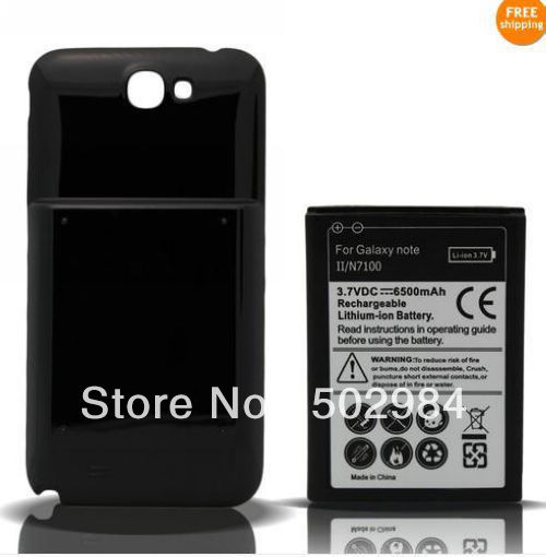 Common Capacity 6500mah sticker Extended Battery For Samsung Galaxy Note 2 Note2 II N7100 Power Batteries Back Cover Case 100