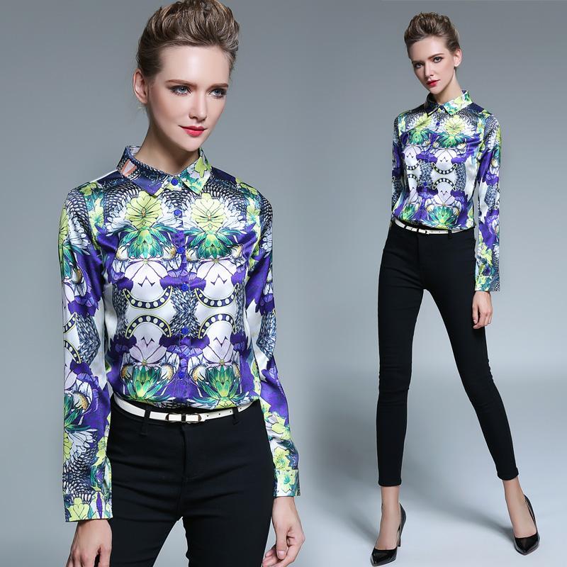 2016 Autumn Winter Women Casual New Female Turn-Down Collar Print Shirts Tops Kimono Fashion Elegant Slim OL Blouses Blusas