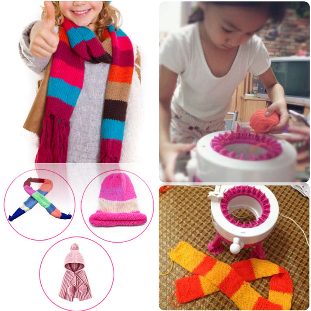 Kids 38-Pin Large Knitting Machine Knitter Weaver - Hands-on DIY Weaving Scarf Hat Sock Pretend Play Developmental Game Toys