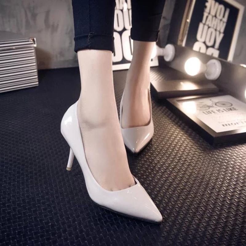 2015 fashion star style ultrafine powder black pointed toe japanned leather shallow mouth high single shoes womens shoes<br><br>Aliexpress