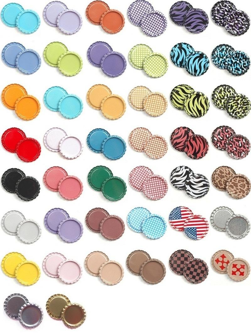 Flat bottle caps mix 42 colors flattened bottle cap diy for Bottle cap designs