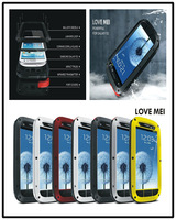 Love Mei Powerfull Aluminum Dirtproof Rain Waterproof Metal Case For Galaxy S4 i9500 S3 Gorilla Glass Free Shipping