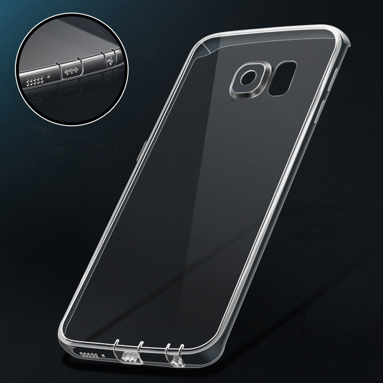 50pcs/lot for S7/ S7edge with Dust Plug Soft TPU Clear Transparent Case for Samsung Galaxy S7/ EDGE Crystal Cover Ultrathin Slim(China (Mainland))