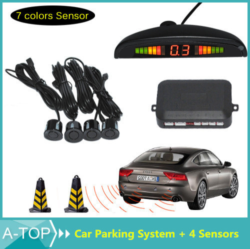 DC12V LED Car Parking Sensor Monitor Auto Reverse Backup Radar Detector System + LED Display + 4 Sensors + 7 Colors to Choose(China (Mainland))