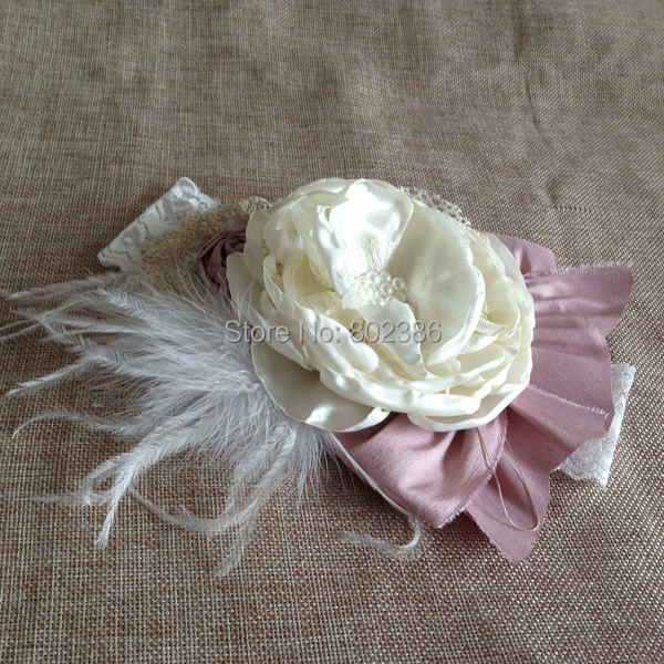 Free Shipping Ivory Ostrich Feather Big Heat Flower Dupioni Silk Rolled Flower Baby Headband Kids Hair Accessories(China (Mainland))
