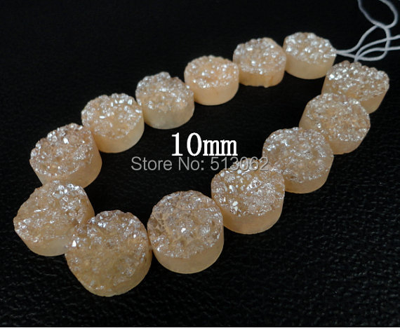 NEW SALE ! Champagne Titanium Druzy Agate Flat Round Pendants ,Drusy Agate Quartz Coin Slab Beads10mm ,different size for choice(China (Mainland))