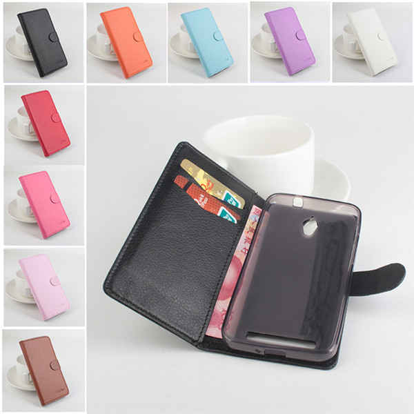 Luxury Book Style Wallet  PU Leather Cover Case For Asus Zenfone C ZC451CG  Lichi Skin PU  Phone Case Pouch 9 colors