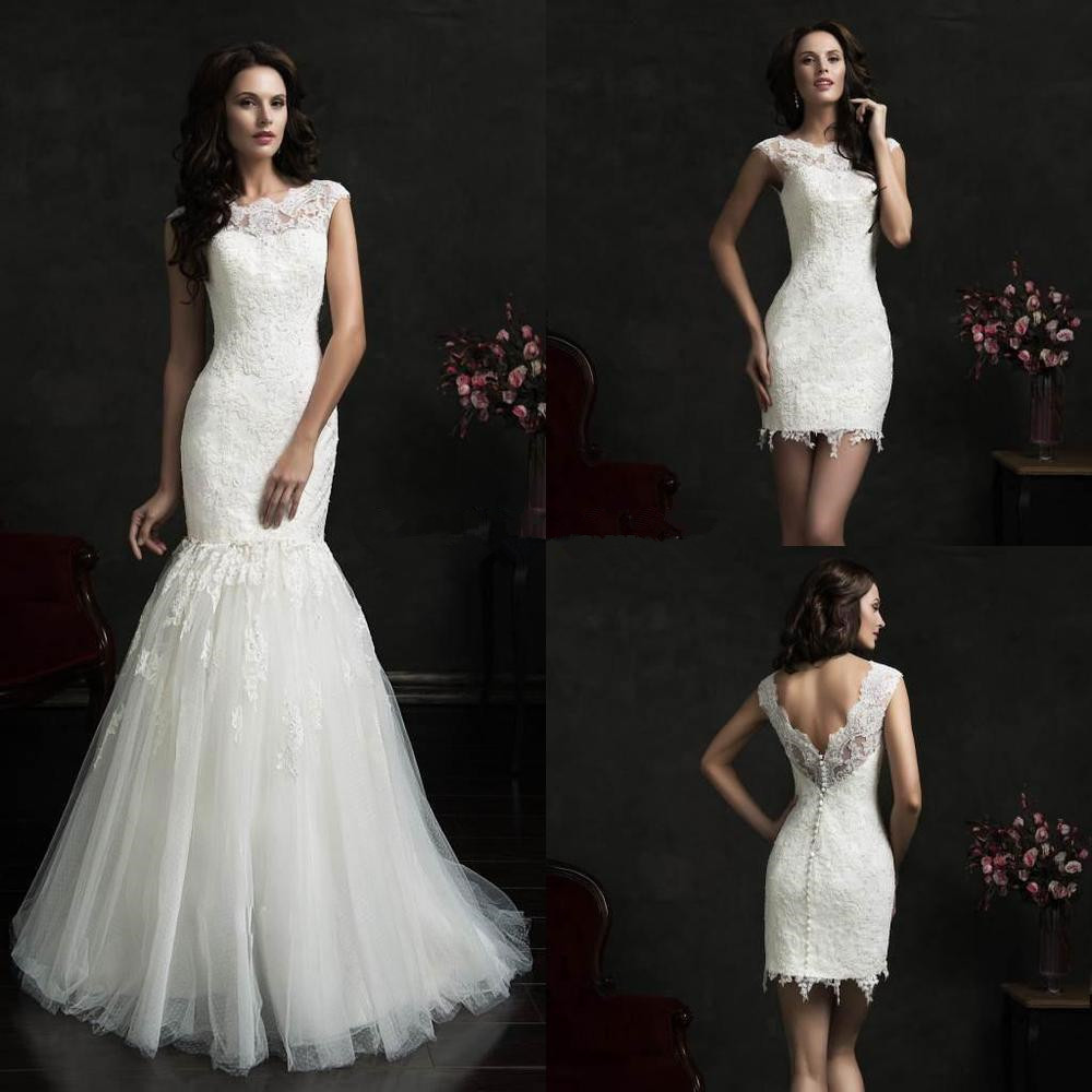 Sexy mermaid detachable skirt wedding dress lace cap for Wedding dress high collar