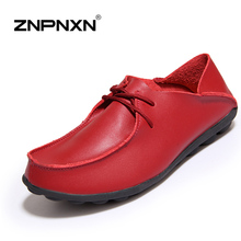 New Design 2016 Women Shoes Genuine Leather Handmade Flats Shoes Women Oxfords Casual Mother Shoes Zapatos Mujer Red(China (Mainland))