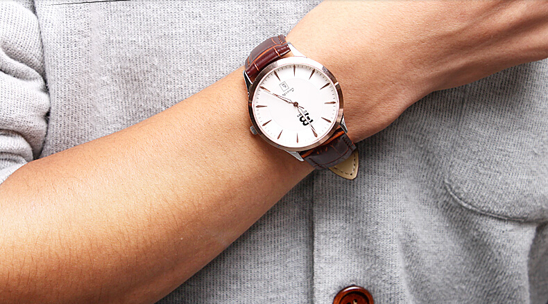 Бингер Высокого Класса Модного Бизнеса Кожа Смотреть Дизайнер Любовник Кварцевые Наручные Часы Розовое Золото Мужчины Ультра Тонкие Часы Швейцария