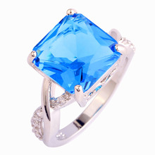 New Fashion Saucy Blue Topaz  925 Silver Ring For Anniversary Size 9 10 Wholesale Free Shipping For Unisex Jewelry