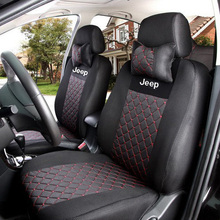 Silk Breathable Embroidery Logo Car Seat Cover For Jeep Wrangler Patriot Cherokee Compass Grand Cherokee commander Black Color
