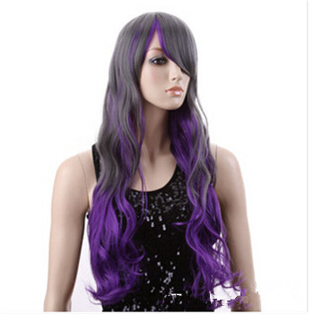 Goldway New Fashion Women Girl Ombre Purple Cosplay Party Long Curly Wavy Hair Wigs Full Wig<br><br>Aliexpress