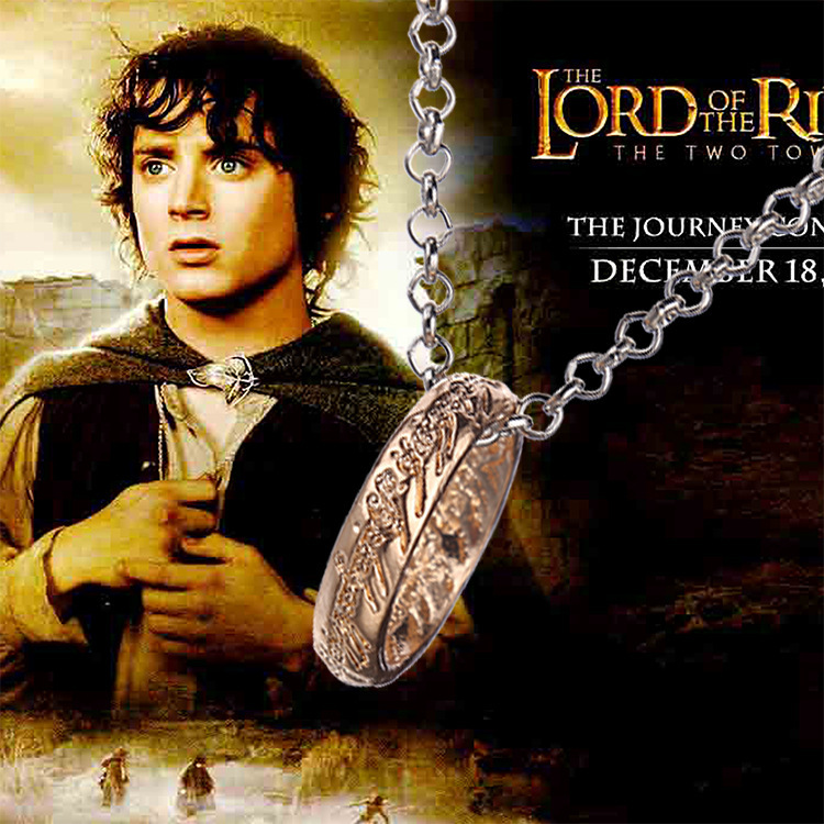 """Lord of the Rings """"The One Ring"""" Bilbo's Hobbit Ring Tungsten w/chain LOTR cosplay jewelry(China (Mainland))"""